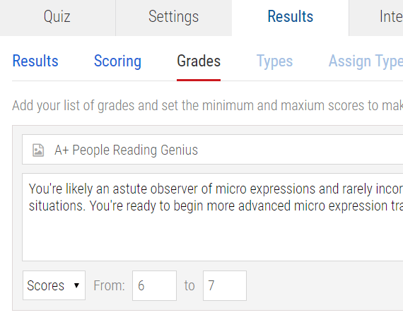 Grades being set on the results tab of the quiz maker